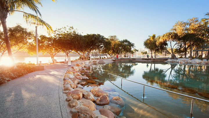 Cool off at Brisbane's world class artificial beach and relaxation lagoon.