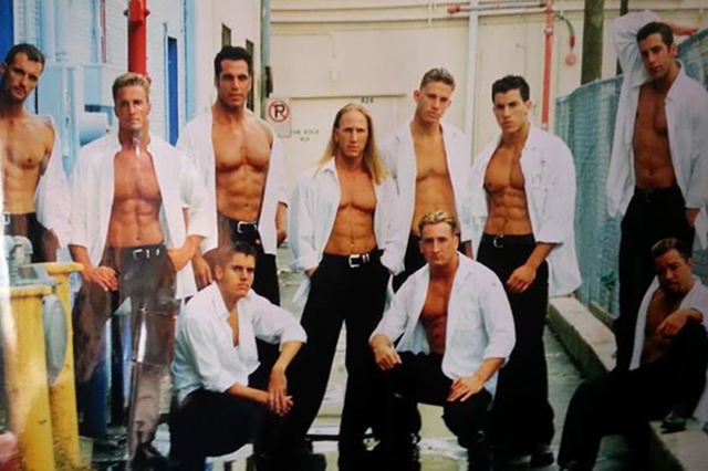 """Tampa's """"Male Encounter"""", featuring London Steele (centre) Channing Tatum (next to London) and Michael Sorrentino (far right, standing)."""
