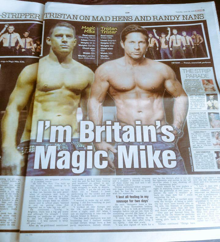 """UK newspaper featuring England's """"strip boss"""" Tristan Tristar."""