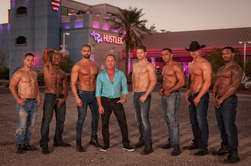 London Steele (centre) today, with the 'King's Of Hustlers' boys outside their Las Vegas venue.