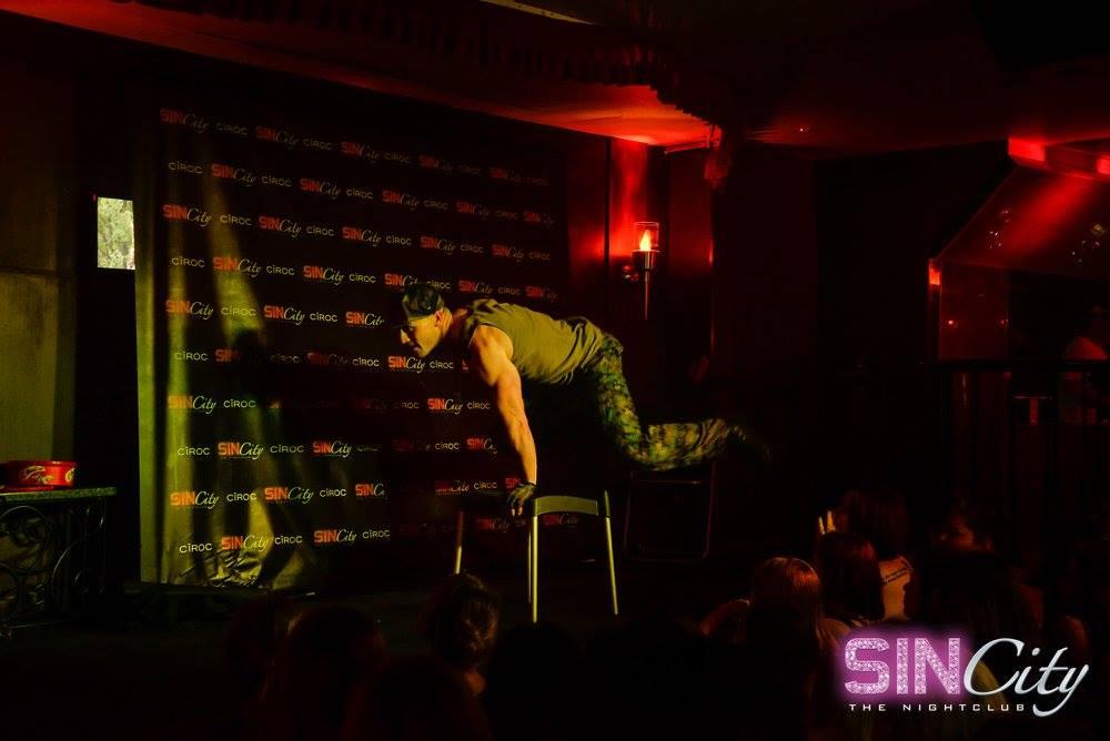 "Male Stripper ""Tommy Gun"" performing at Sin City nightclub in Gold Coast, Australia."