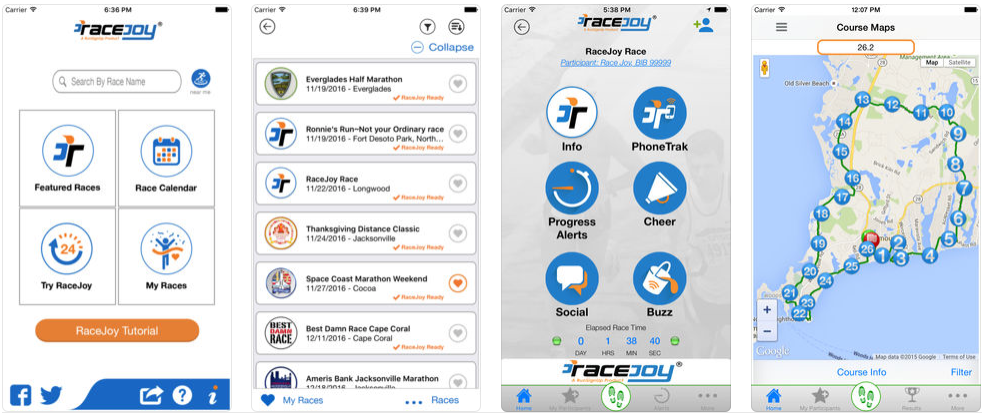 Racejoy iOS App Screenshots