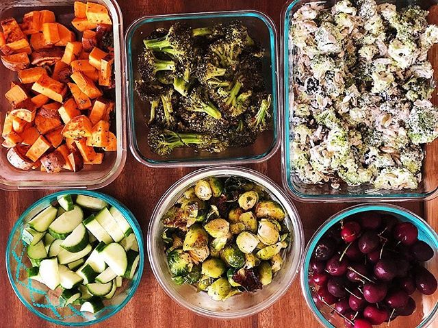 #MEALPREPSUNDAY on FLEEK!! #mealprep from one year ago today has me all inspired to repeat this for this week! That Cashew Broccoli Salad is my ultimate favorite of all and deserves repeating!  Perfect inspiration to have just before heading to the grocery store! 🙌🏻 Here is what we cooked up: . -Marinated Chicken Thighs -Pork Chops -Roasted Brussels -Roasted Sweets -Roasted Broccoli -Cucumber Salad -Bowl of Cherries for snacking -Paleo Broccoli Cashew Salad . I will be posting the Broccoli Cashew Salad tomorrow so be on the lookout for that! . I hope you all have the BEST Monday EVER! . Love you all! . . #realfood #organic #cleaneats#popsugarfitness #nutrientdense#yahoofood #strongnotskinny#buzzfeedfood #fitfoodie #f52gram #hbfit#iamwellandgood #mindbodygreen#plantbased #mindbodygram #thefeedfeed#refinedsugarfree #sprouted #mealprep#glutenfreemealprep #guthealth #iamwellandgood#eatgoodfeelgood #tcmlsivingwell#healthyfoodshare #glutenfree #dairyfree