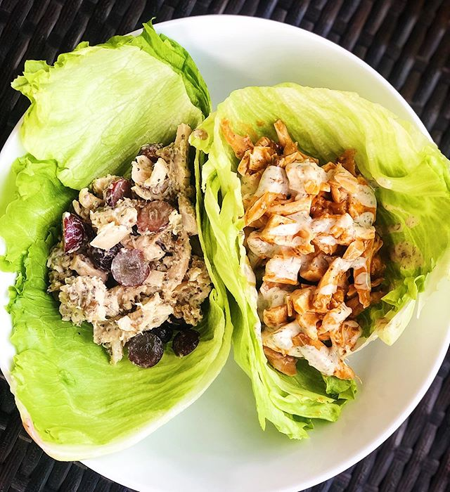 🌯Chicken Salad Lettuce Wraps 2 Ways 🌯 . . So simple and so perfect for ☀️Summer☀️ . Chicken Salad: Diced Organic Rotisserie Chicken from @ellwoodsrva  @primalkitchenfoods Mayo  Poppy Seeds Chia Seeds Diced Grapes Sunflower Seeds 🌯 Buffalo Chicken Salad: Same diced chicken  @thenewprimal Mild Buffalo Sauce (Todd to coat chicken) Top with @tessemaes Ranch Dressing . Wrap in Iceberg or Romaine Lettuce! 🌯 . . . #whole30 #whole30meals #paleomeals #lettuce #chickensalad #thenewprimal #primalkitchen #tessemaes #coffee #iamwellandgood #grainfree #glutenfree #lunchbox