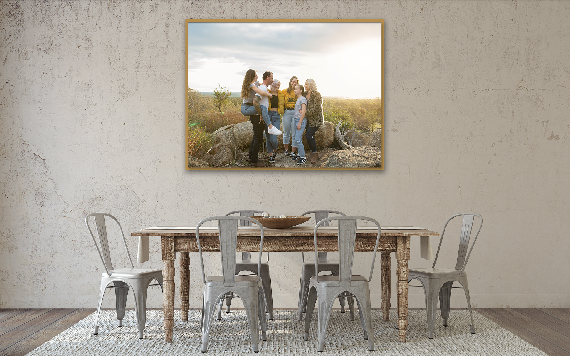 Floating Framed Canvas - Stunning teak framed canvas that looks beautifully rustic. Available individually or in wall groupings custom designed for your home. These canvases come with a 75 year guarantee, even for accidental damage, how incredible is that?Prices start from $450.