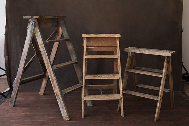 Some may call it an obsession. I call it love. My growing collection of beautiful rustic ladders for the studio.