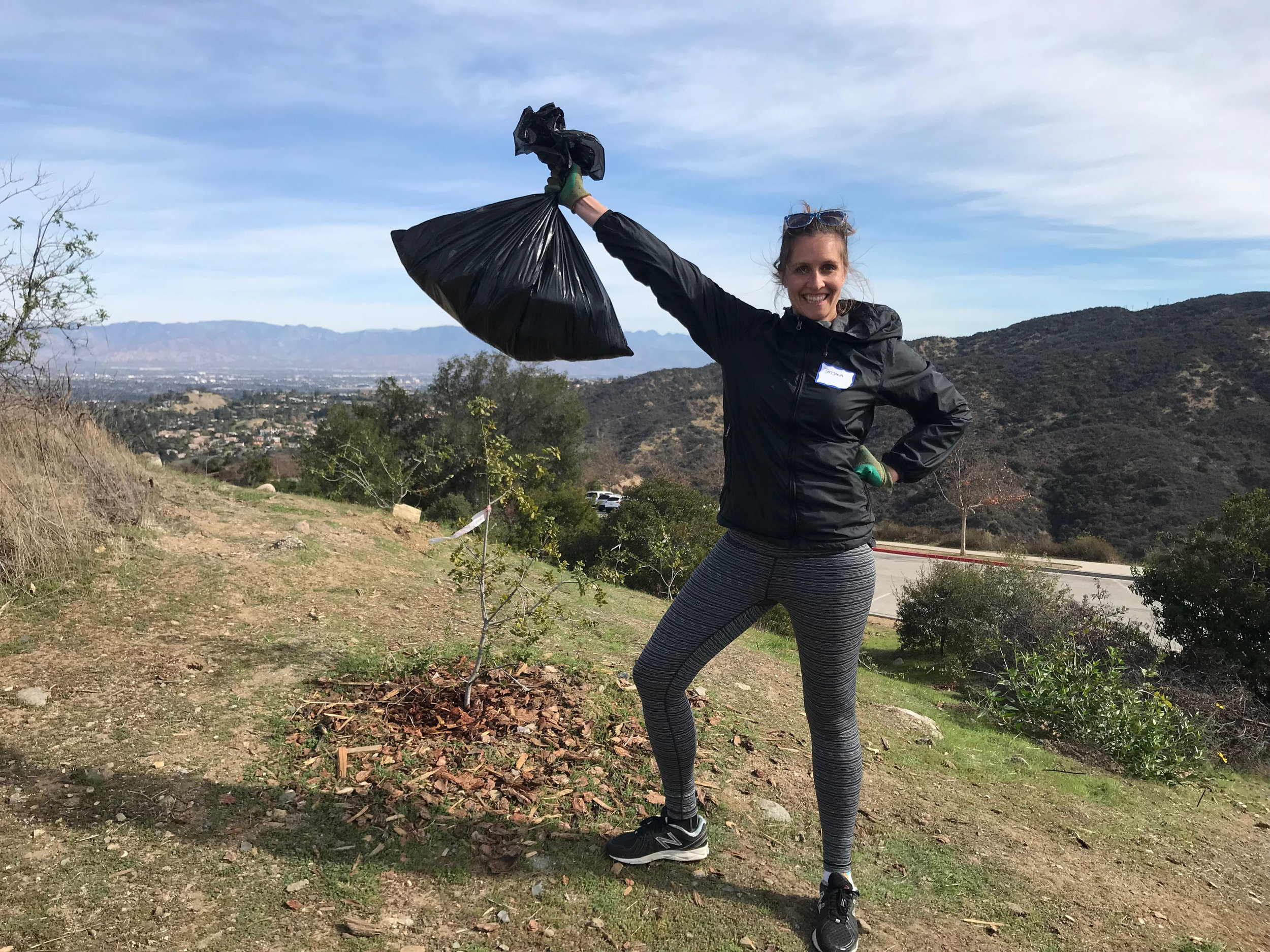 Tatjana did the dirty work and picked up all the trash in the surrounding landscape.