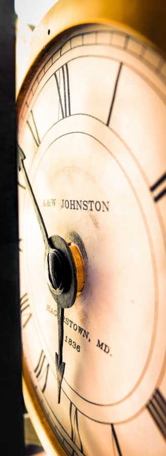 A&W Johnston clock in the HighRock Clock Tower on the square in downtown Hagerstown, Maryland c.1836