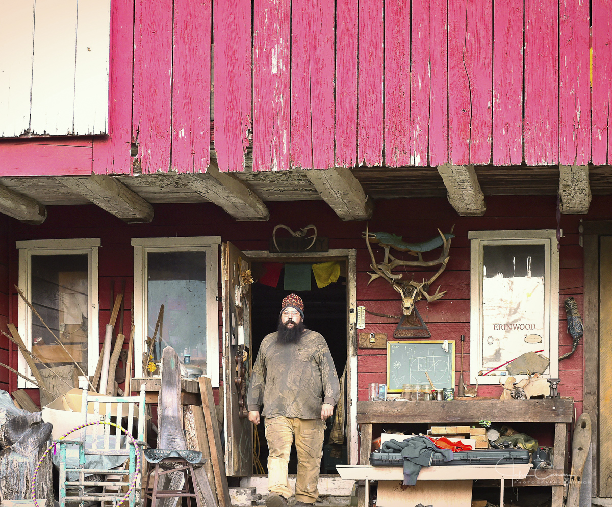Stepping out of his Myersville, MD woodworking shop preparing to start a project in his Blacksmith Forge at Hawkwood Mountain Farm, Myersville, Maryland