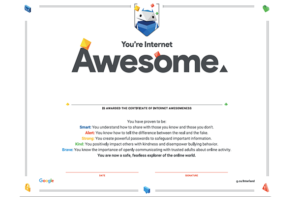 Recognition - Proof of Internet awesomeness comes in the form of an official certificate and badge for each lesson. Get the certificates, badges, and pledge when you install the curriculum.
