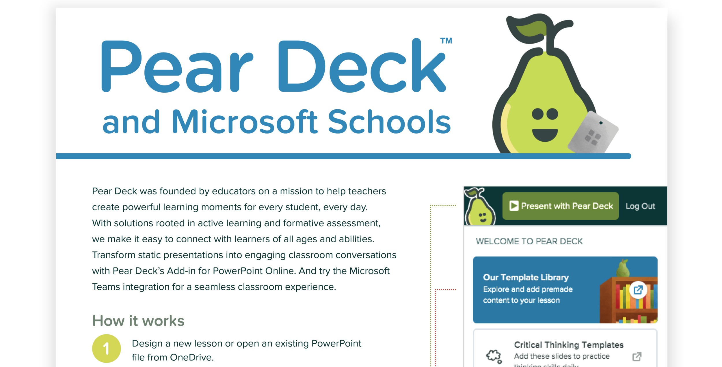 Pear Deck and Microsoft Schools One Pager