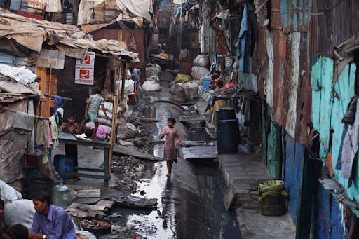 Slums in an area of environmental exploitation.