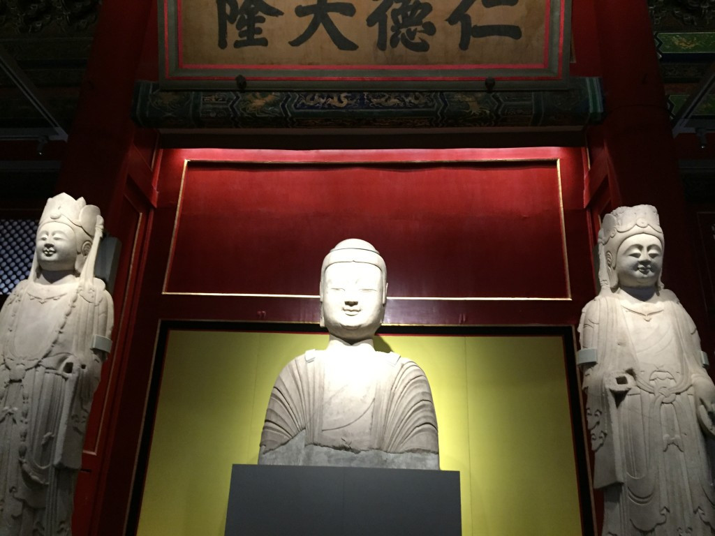 Stone bodhisattva from the Northern Wei period (386-535 AD) on display in the Cining Gong.
