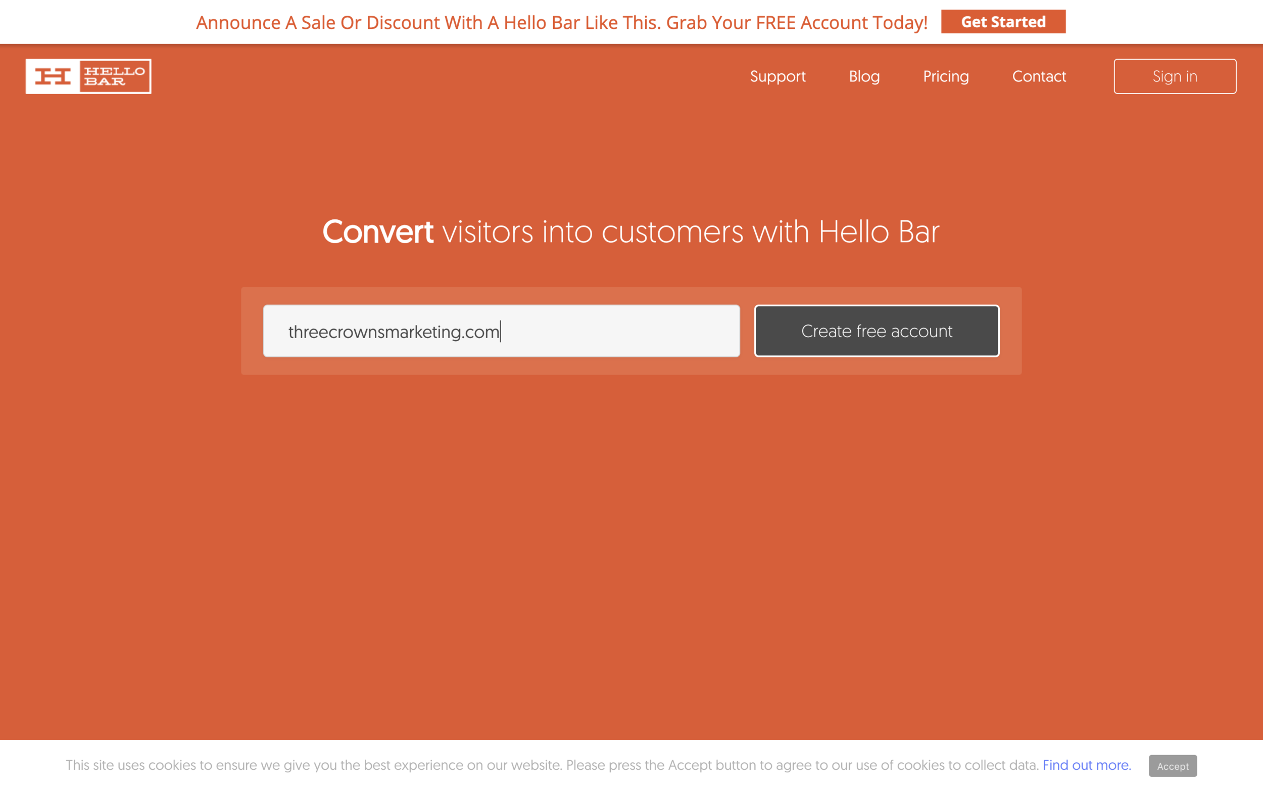website visitor conversion tool Hellobar Three Crowns Copywriting and Marketing