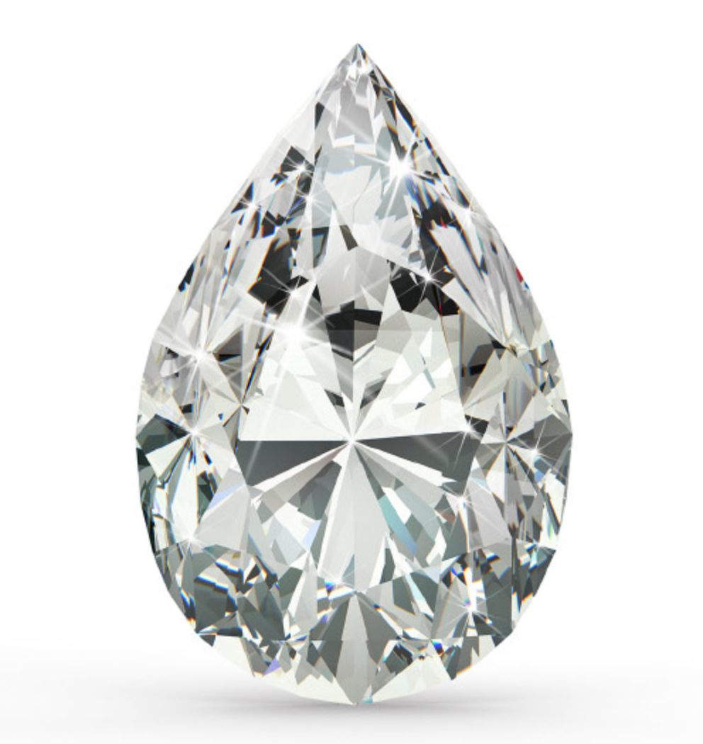 Pear Shape   Another fancy shaped diamond, the Pear Shaped Diamond is unique in the sense that one half of it actually looks very similar to a round brilliant diamond. The other half is elongated. The longer part of the diamond shape gives the illusion of size just like the Oval we spoke about earlier. Looking for a classy, unique choice? Check out the Pear Shaped Diamond, for a look she's sure to love.