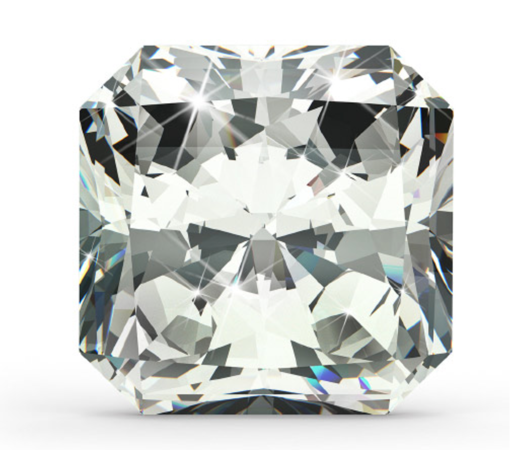 Radiant Cut   The radiant cut diamond is the first square cut (the second being the princess) to have a complete brilliant-cut facet pattern applied to both the crown and pavilion, creating a vibrant and lively square diamond. The cropped corner square shape of the radiant is a nice bridge between a cushion and a princess cut.