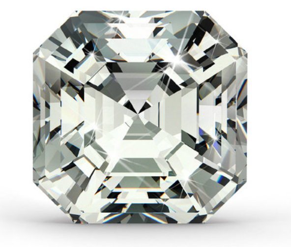 Asscher Cut   The Asscher cut diamond is almost identical to the emerald-cut, except that it is square. We look for parallel sides and even corners when selecting this shape, along with a higher clarity as the inclusions are more visible, as they are in the emerald and baguette cut diamonds. When choosing a colour grade, it is best to consider that colour may be slightly more visible in its corners than it would be in a brilliant cut stone.
