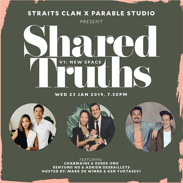 Hi everyone!! @parablestudio is sponsoring a culture of love, authenticity and openness amongst local design practices and design-driven businesses.  We would like to invite you to join us at our #SharedTruths community event which focuses on the life behind design, to uncover what drives and invigorates local creatives and entrepreneurs. . In this first edition, we invite pioneers in their own right across design and business, who are entering new territory, to share how they create space in their lives as couples or individuals to constantly welcome the new.  Early Bird Entry: $35 (till 10 Jan) Standard Entry $39, Door Sale $50 . . *Featured Guests:* @dercong & @eleventhour, Directors at @elementary.co  @travellator, Director at @matterprints  @adesbaillets, Director at @saladstop  Hosted by @yuktabubble & @markdewinne, Directors at @parablestudio . . **All entry tickets include a bottle of Asahi and light canapés. All attendees will have also have access to the exclusive Straits Clan member's bar for networking after the main event.  Seats are very limited so get your tickets before they're gone. Do so by 10th Jan for the early-bird price.  For more information and even updates, follow @parablestudio on Instagram and Facebook :)