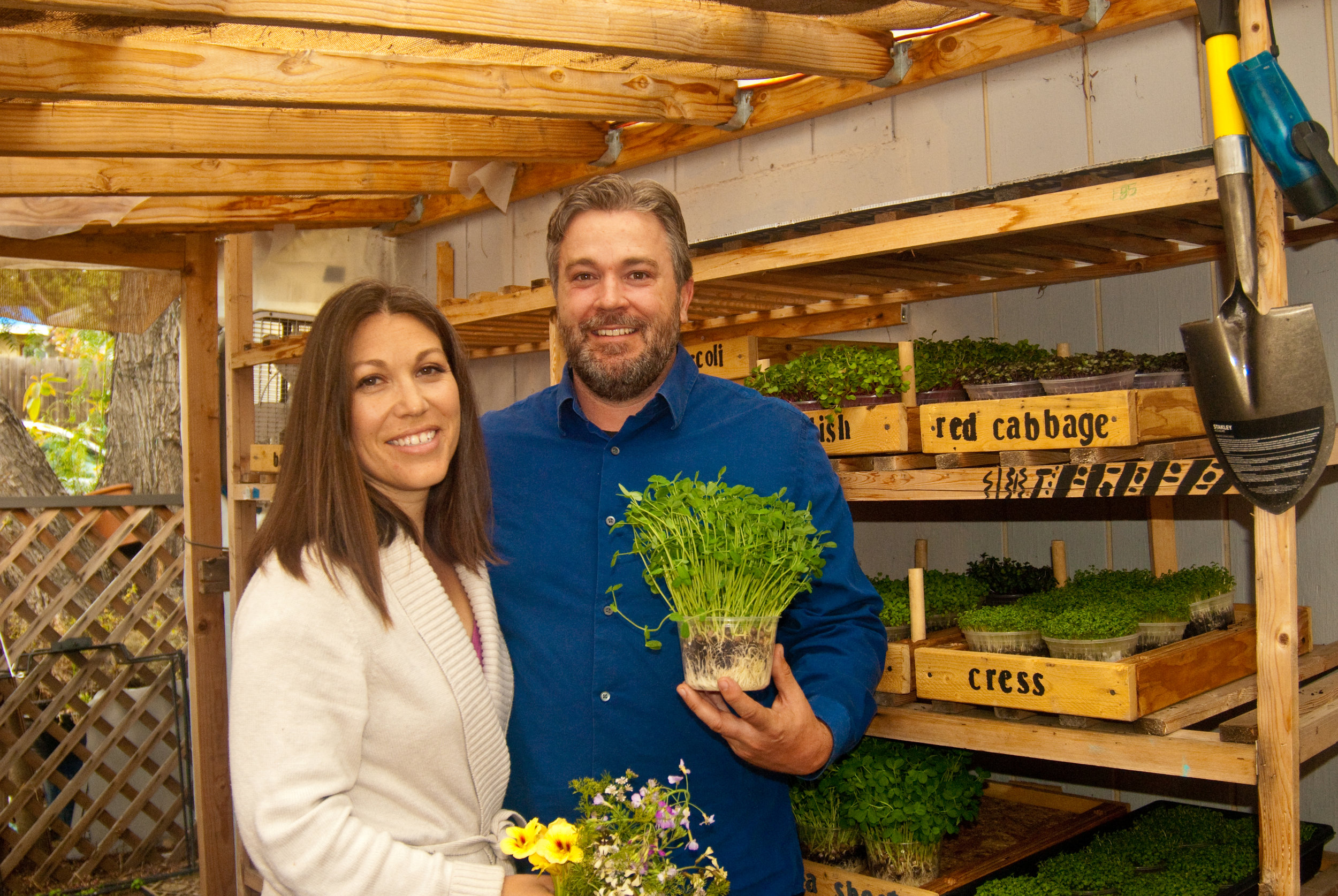 Melissa Canales and Taylor McDonald with Microgreens
