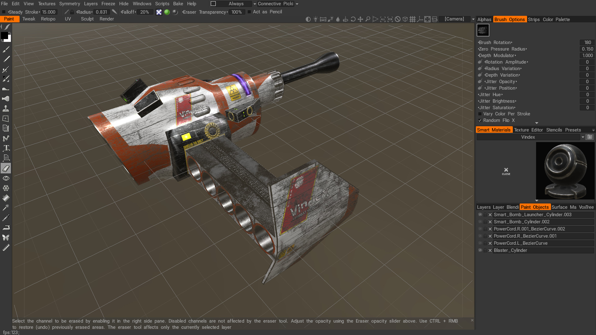 3D-Coat - Paint the UV mapped surface of the model