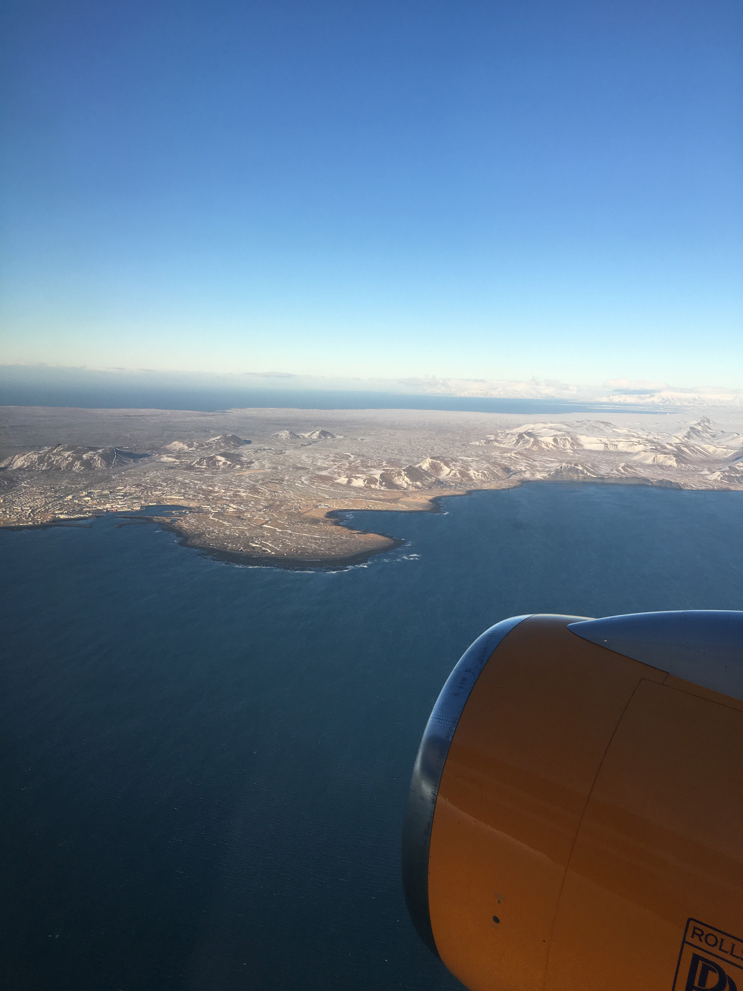 Flying into Iceland along the western coastline