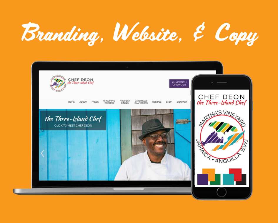Click to visit ChefDeon.com . We designed Chef Deon's colors/branding, wrote some of the site copy, and built the site and shop.
