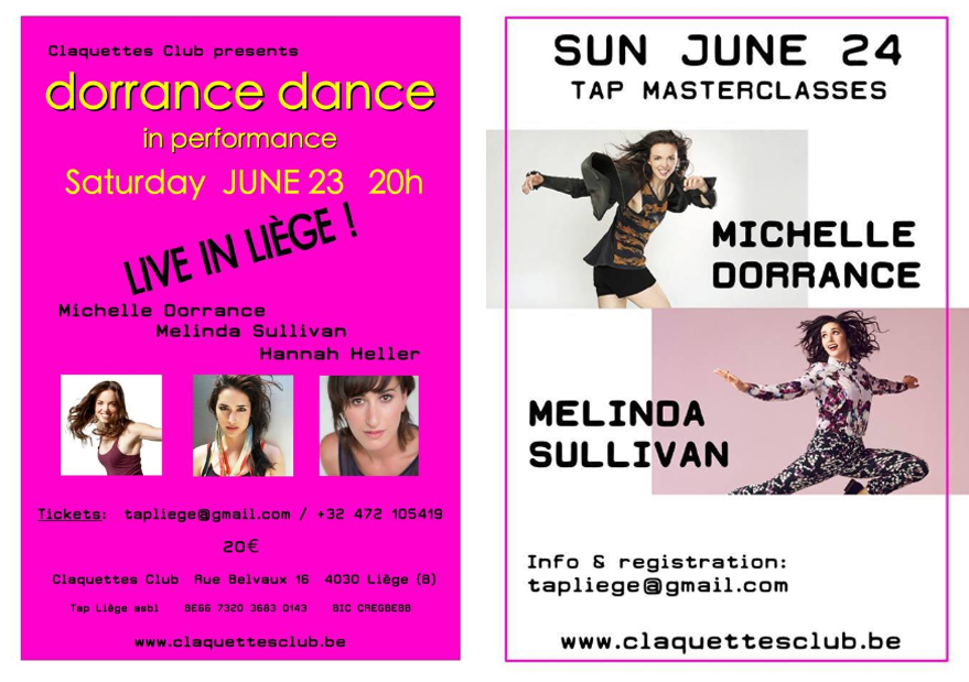 23-24 JUne 2018  Michelle Dorrance Workshop and Dorrance Dance in Liege!
