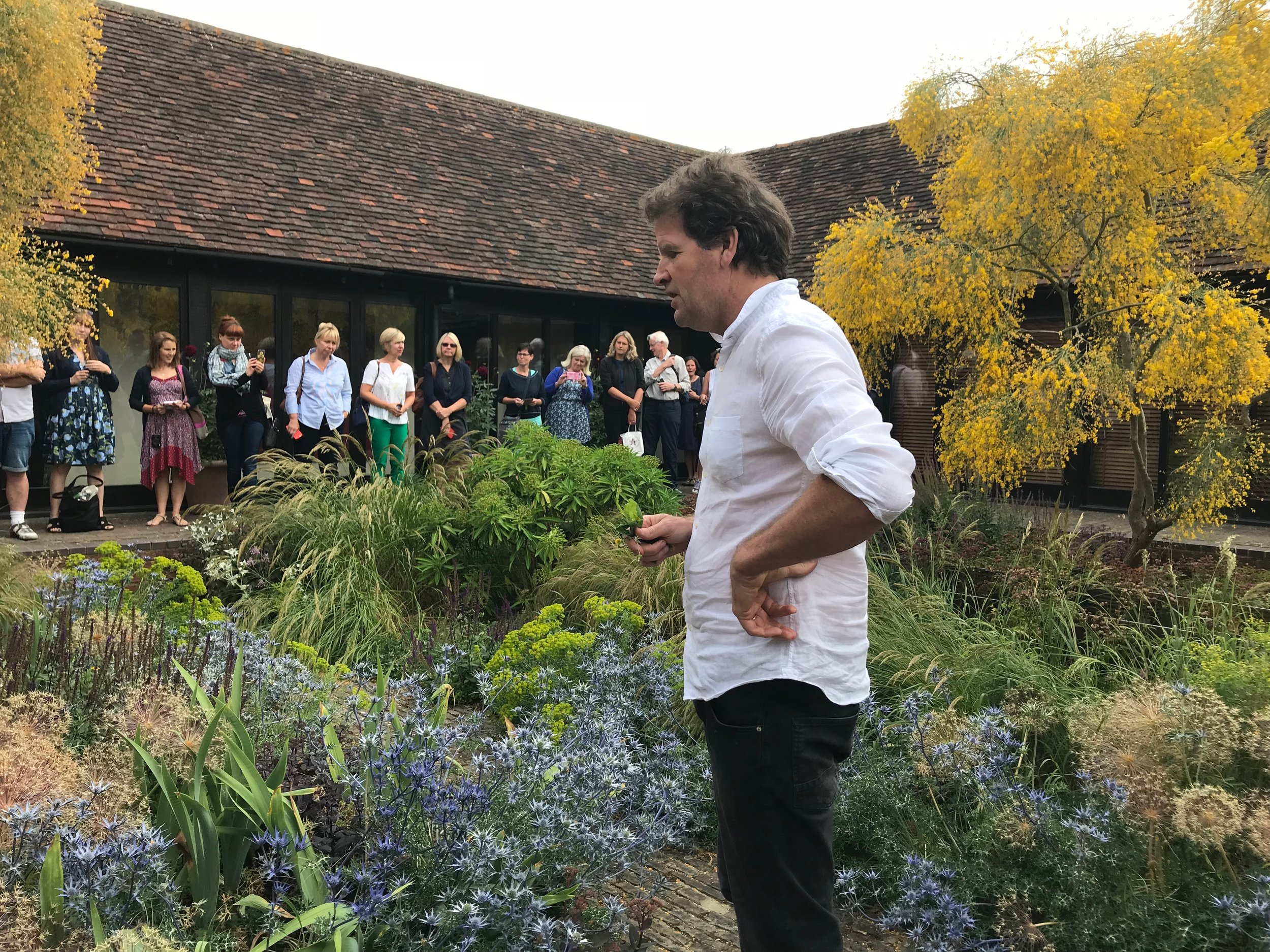 Tom in the courtyard garden – generously sharing his vast knowledge and creative genius, and inspiring fellow garden designers,July 2018  (Gillian Goodson Designs)