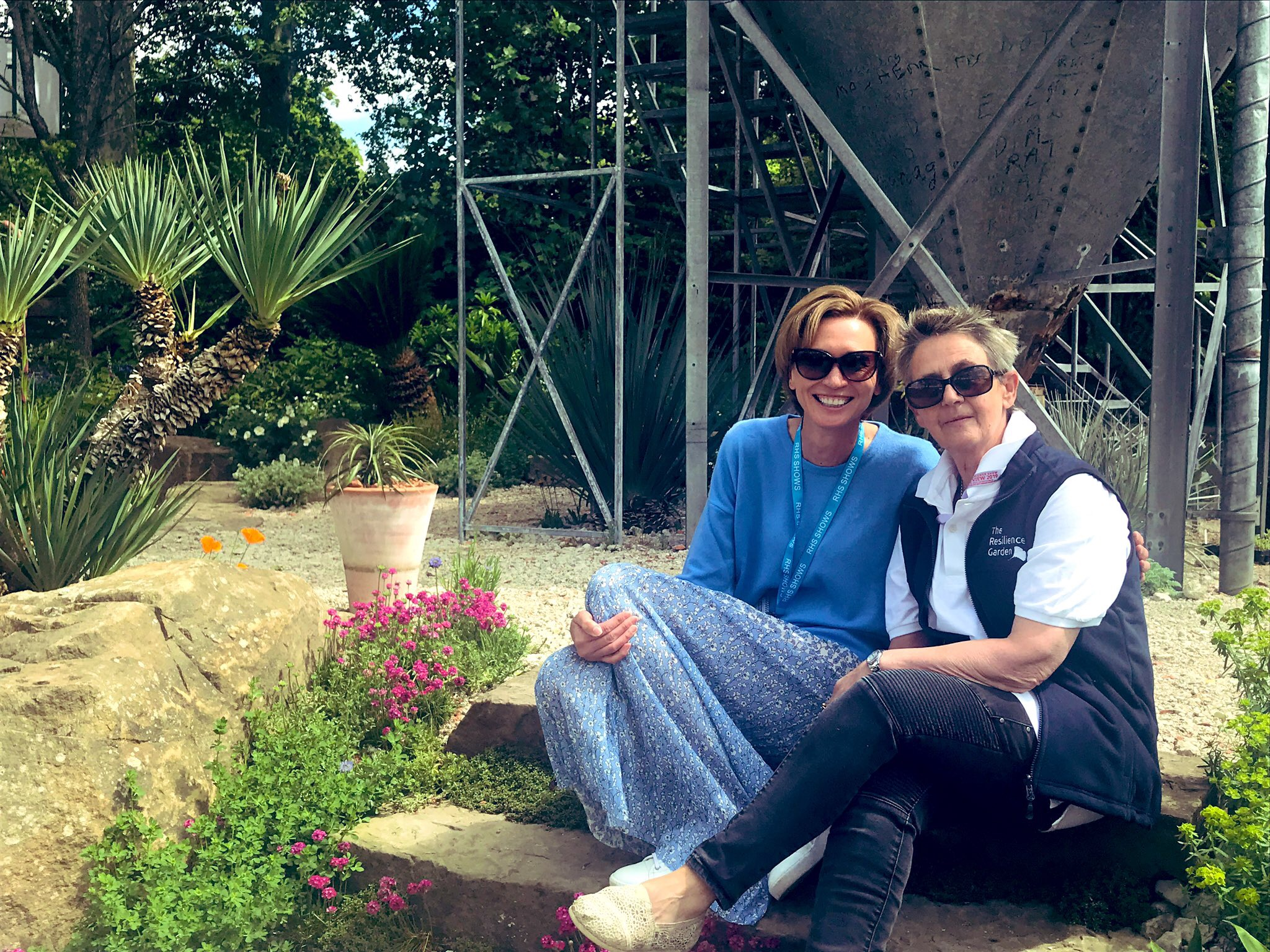 Gillian Goodson (left) with Sarah Eberle  at  The Resilience Garden, RHS Chelsea Flower Show 2019  –  Gold medal and Best Construction Award