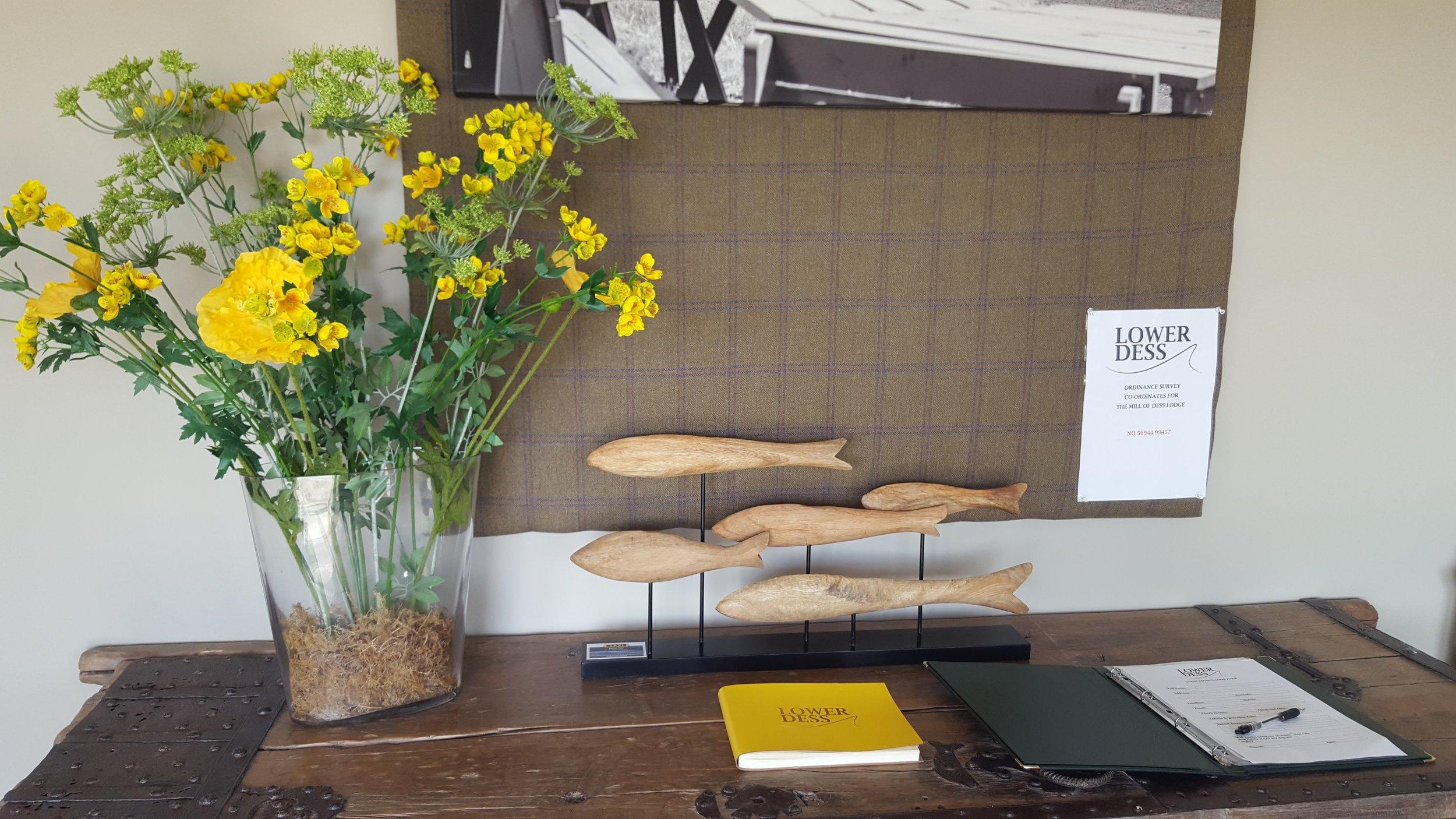 entrance desk at Mill of Dess