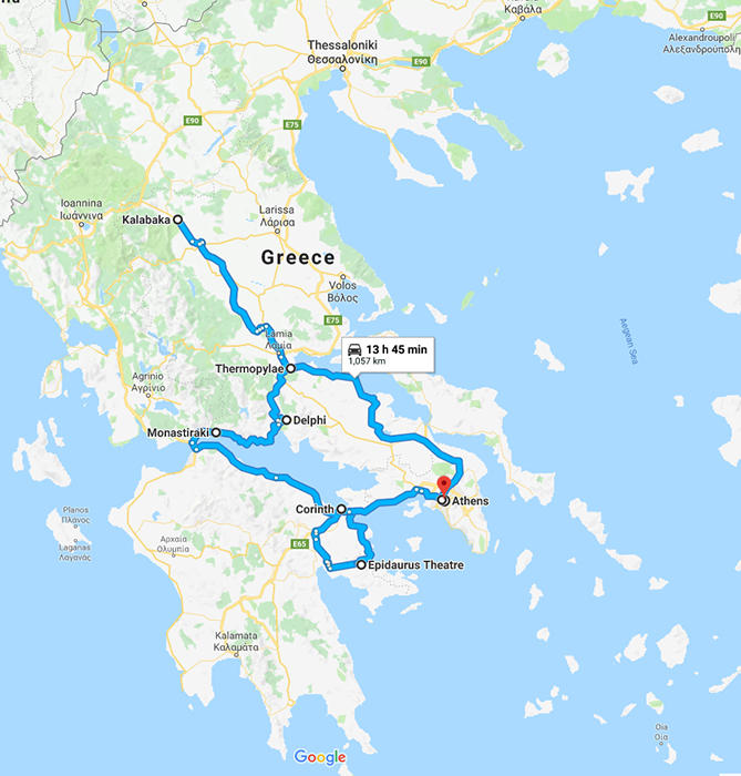 Route we took in Greece, (c) Google Maps