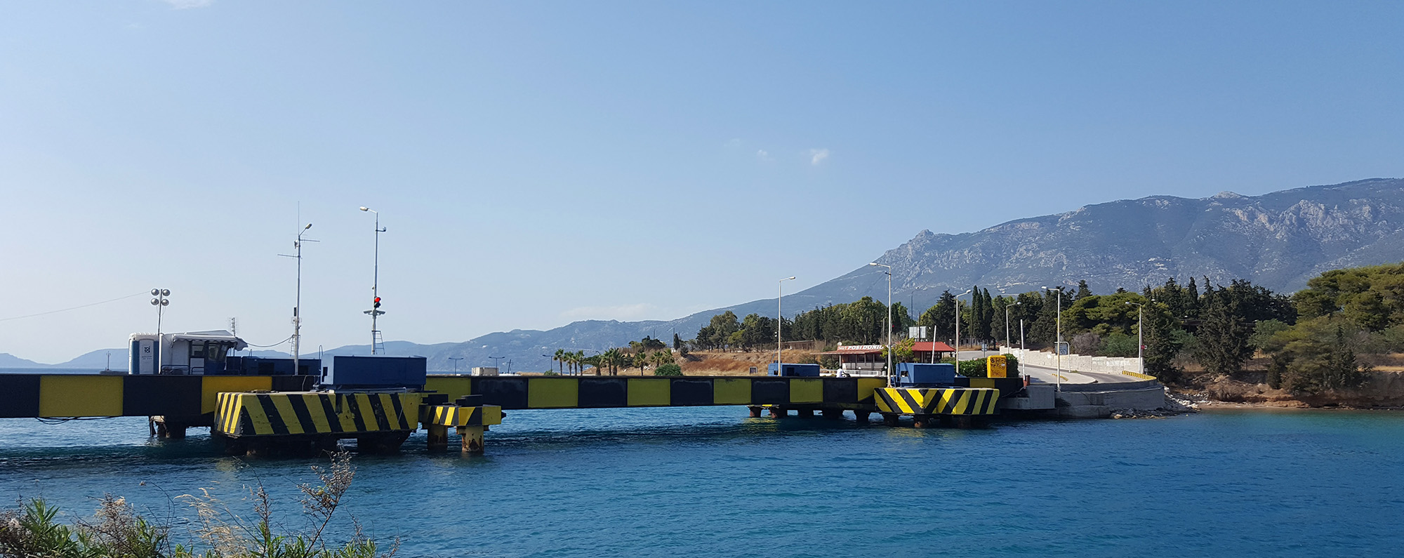 The road bridge on the north end (Gulf of Corinth side) of the Canal