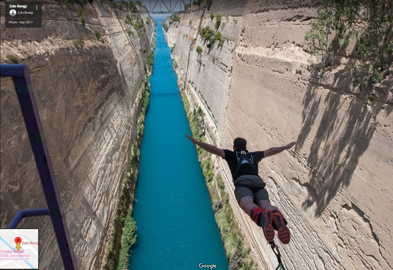 A bungee jumper on the Corinth Canal. Would you? [Photo Credit: Zulu Bungy via Google Maps]
