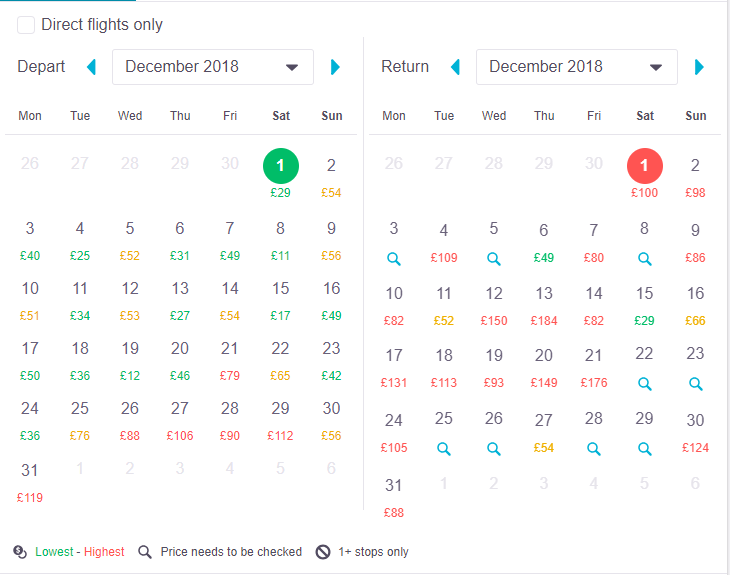 Skyscanner result for MANC-PMI extracted November 2018