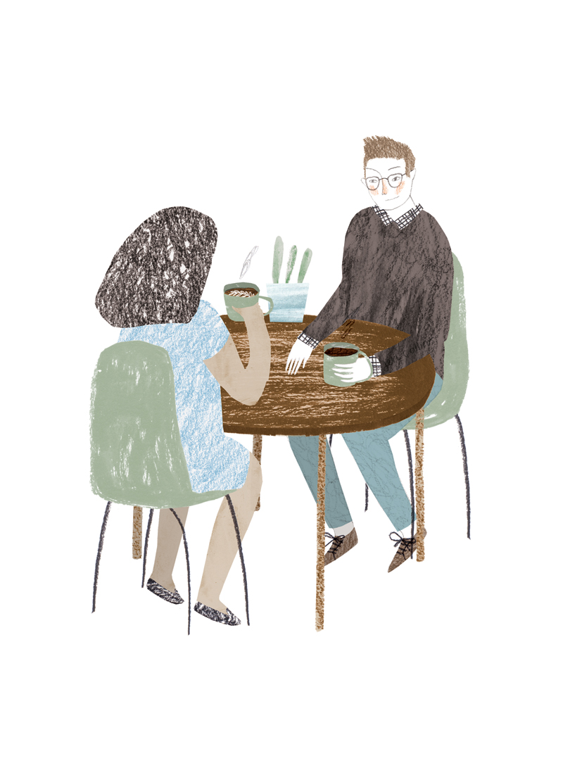 Illustration for Les Others: two people sitting down with coffee