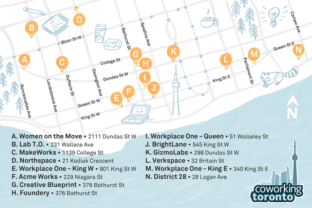 Coworking Toronto location map