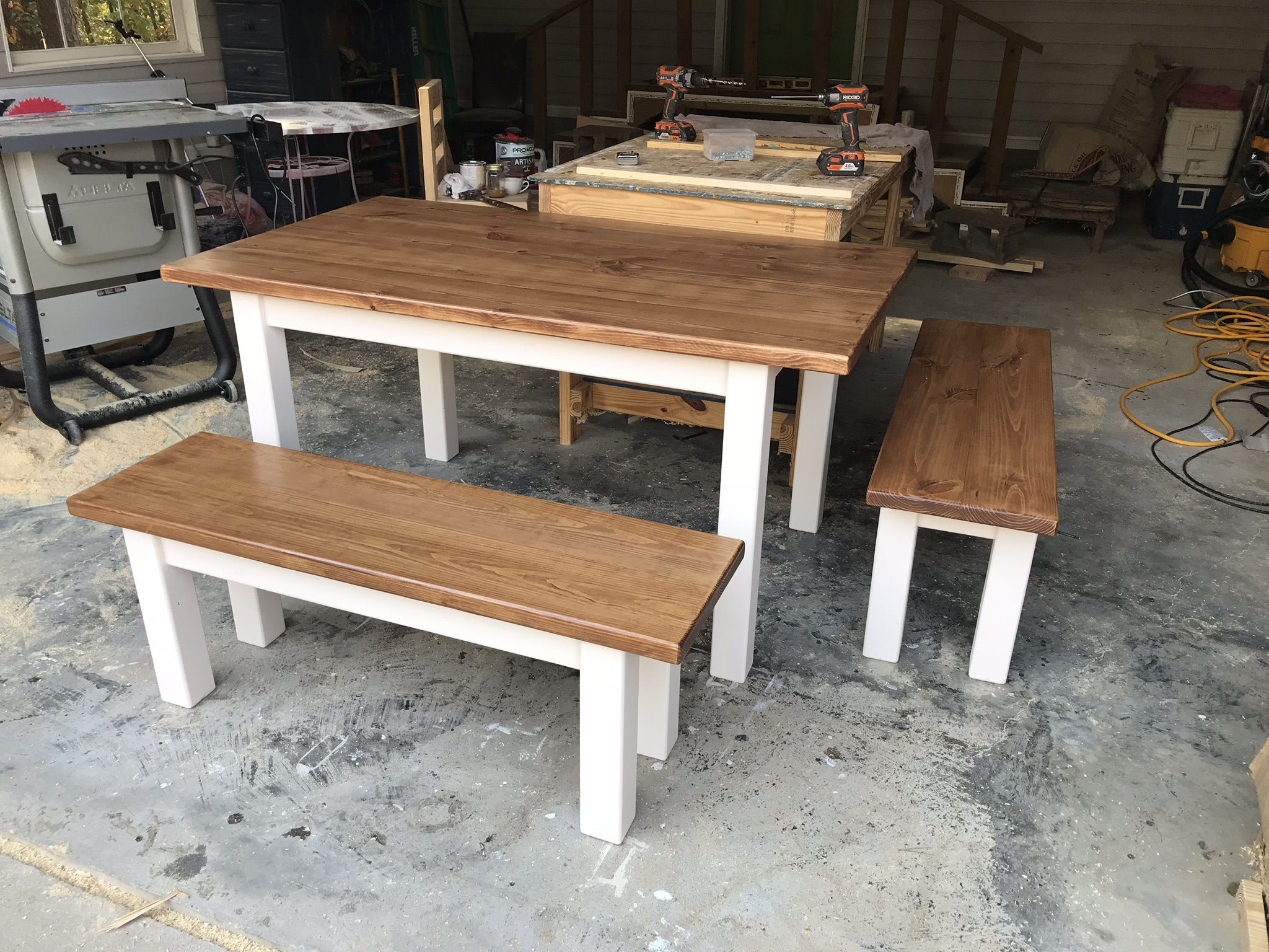 Traditional Style Table with Benches