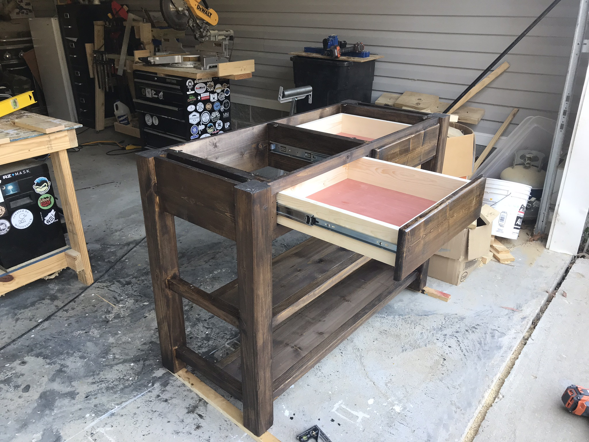 DIY Kitchen Island with Drawers