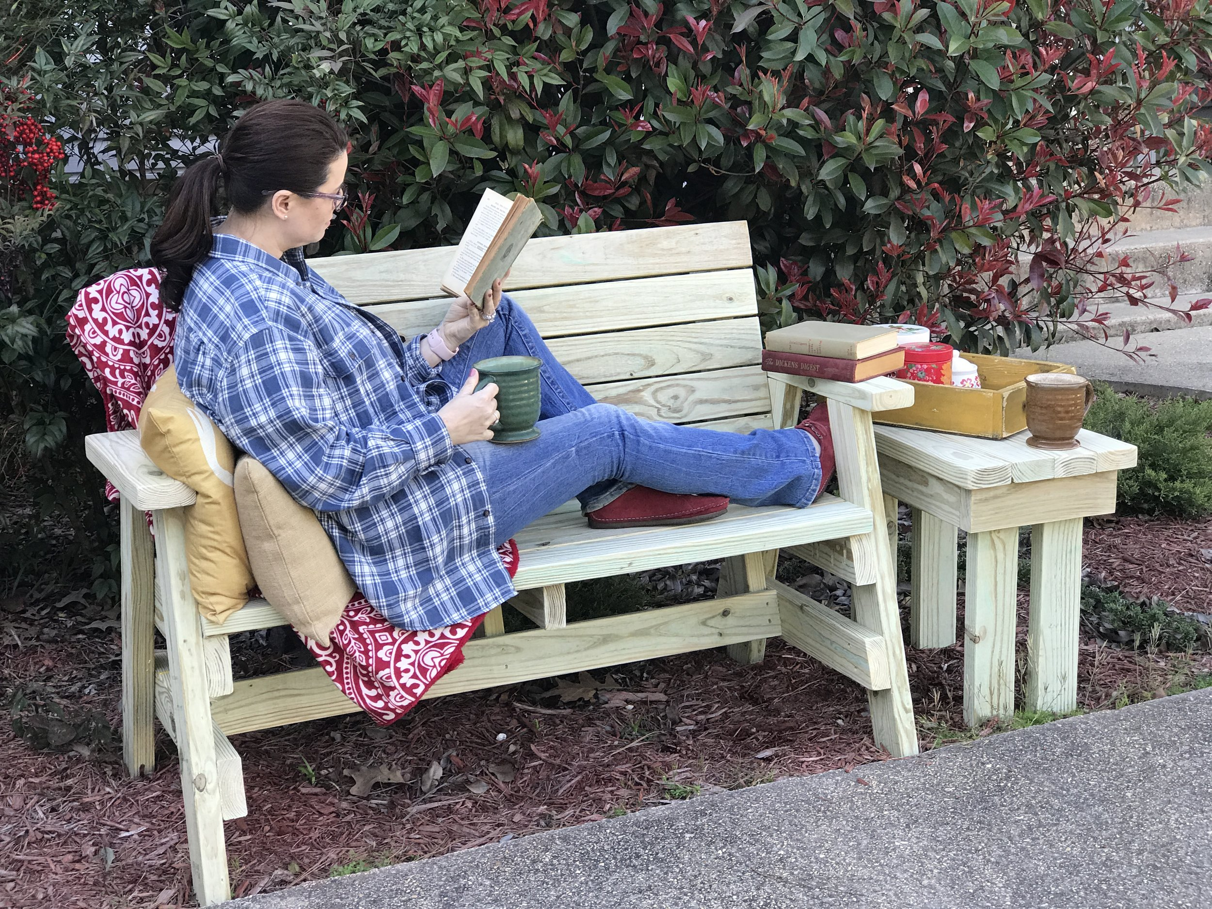 Outdoor Bench and End Table