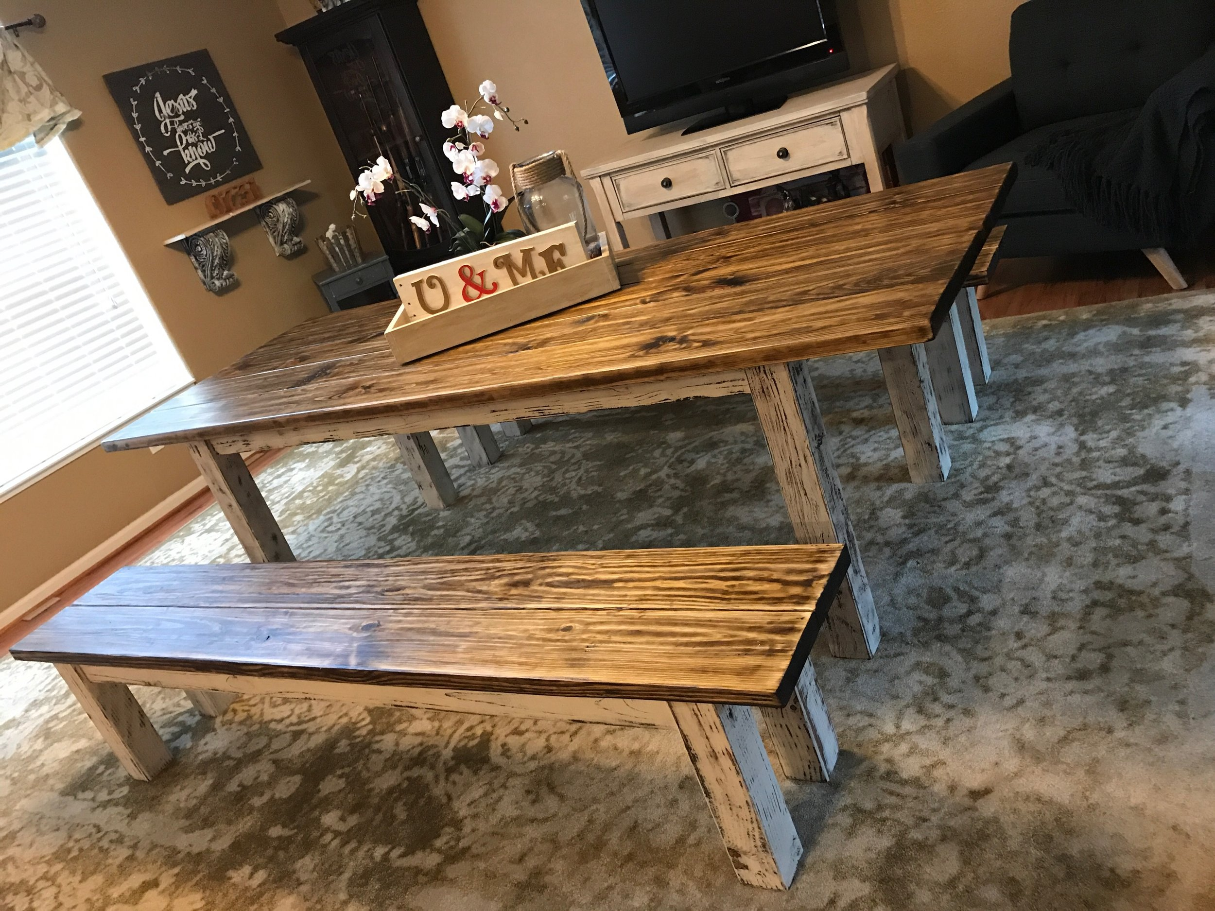 Traditional Dining Table with Benches