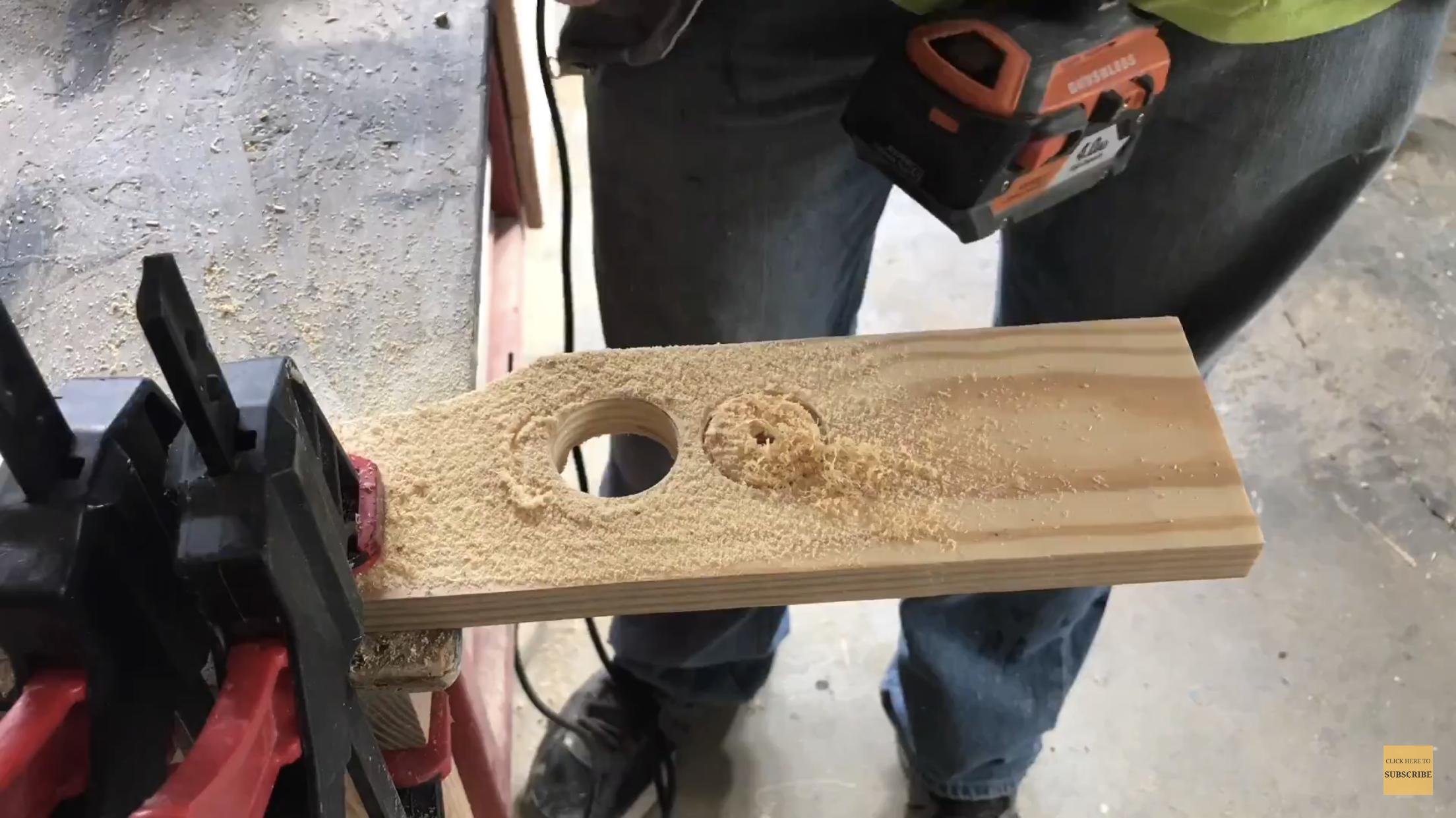Using a hole saw to make handles