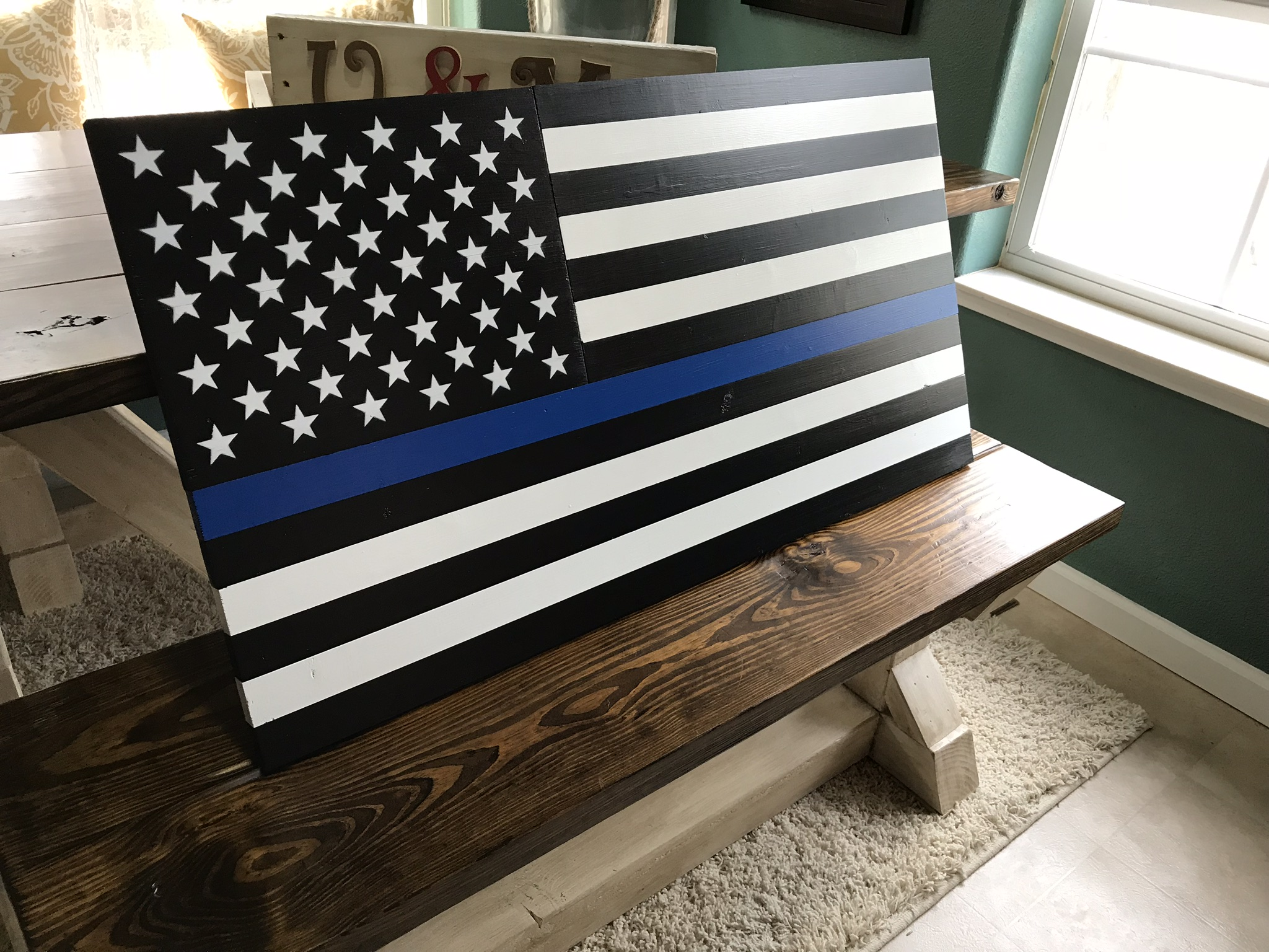 Wooden Thin Blue Line Flag