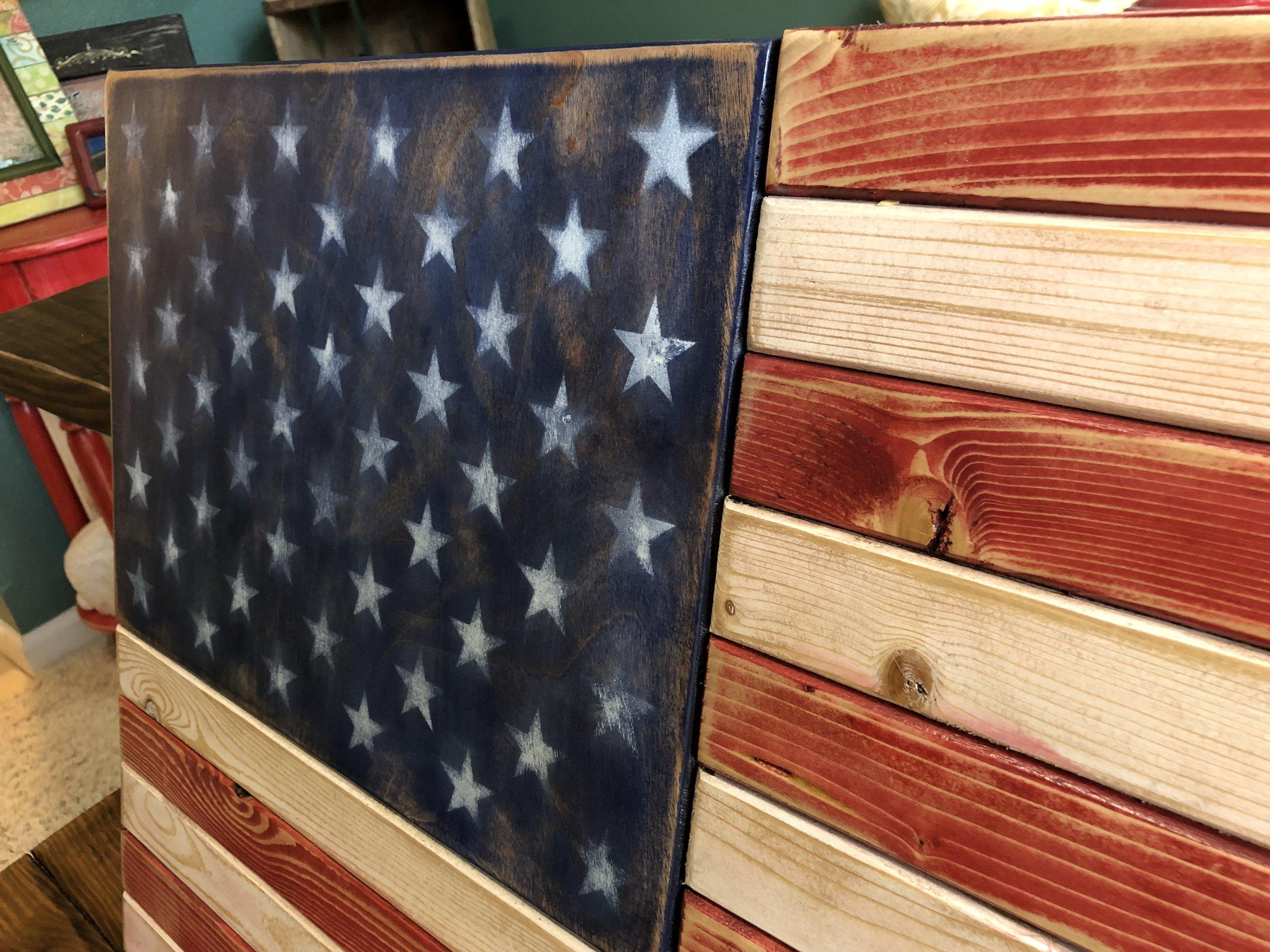 distressed american flag office decor.JPG