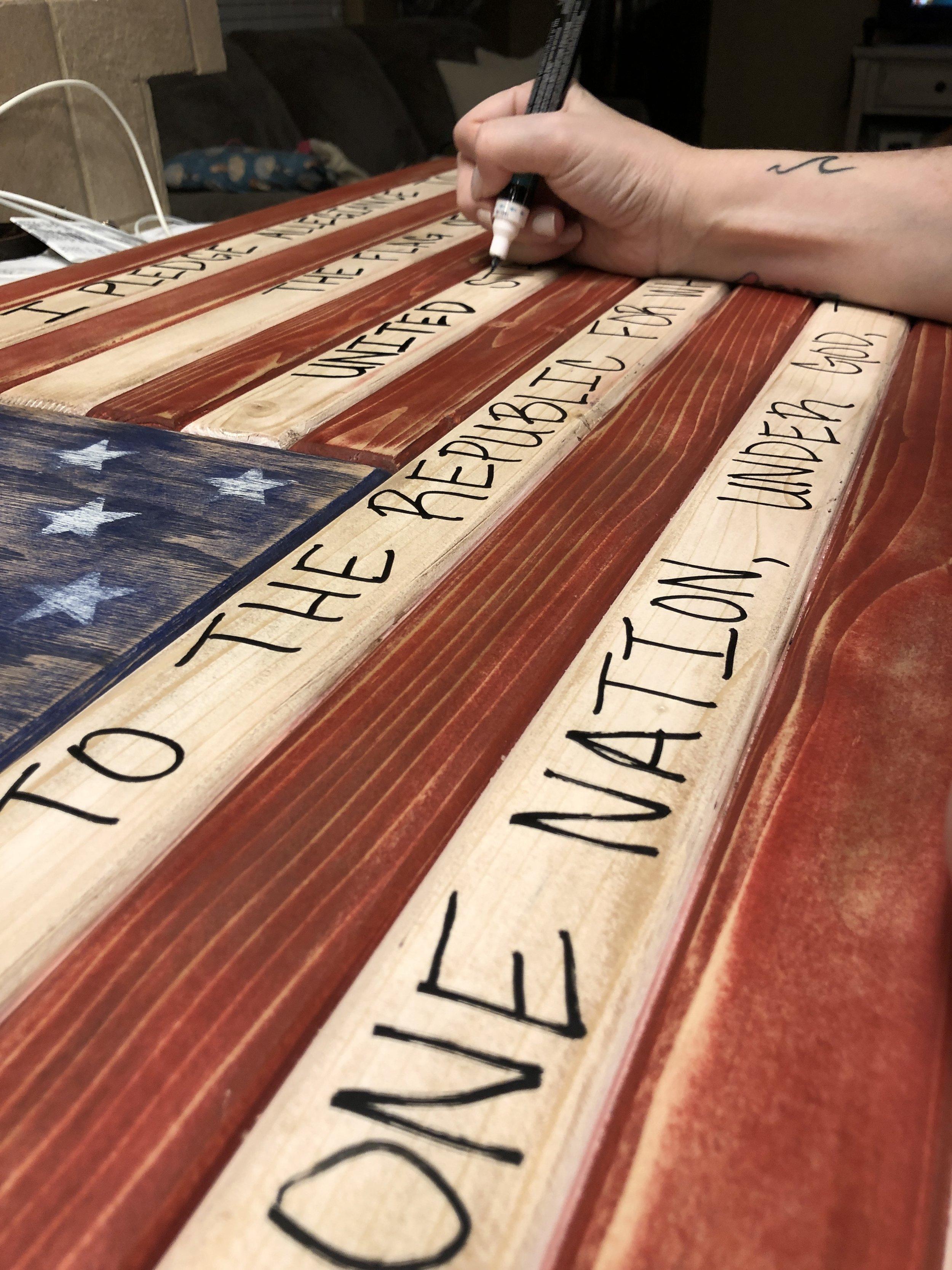 custom hand lettering on the flag.JPG