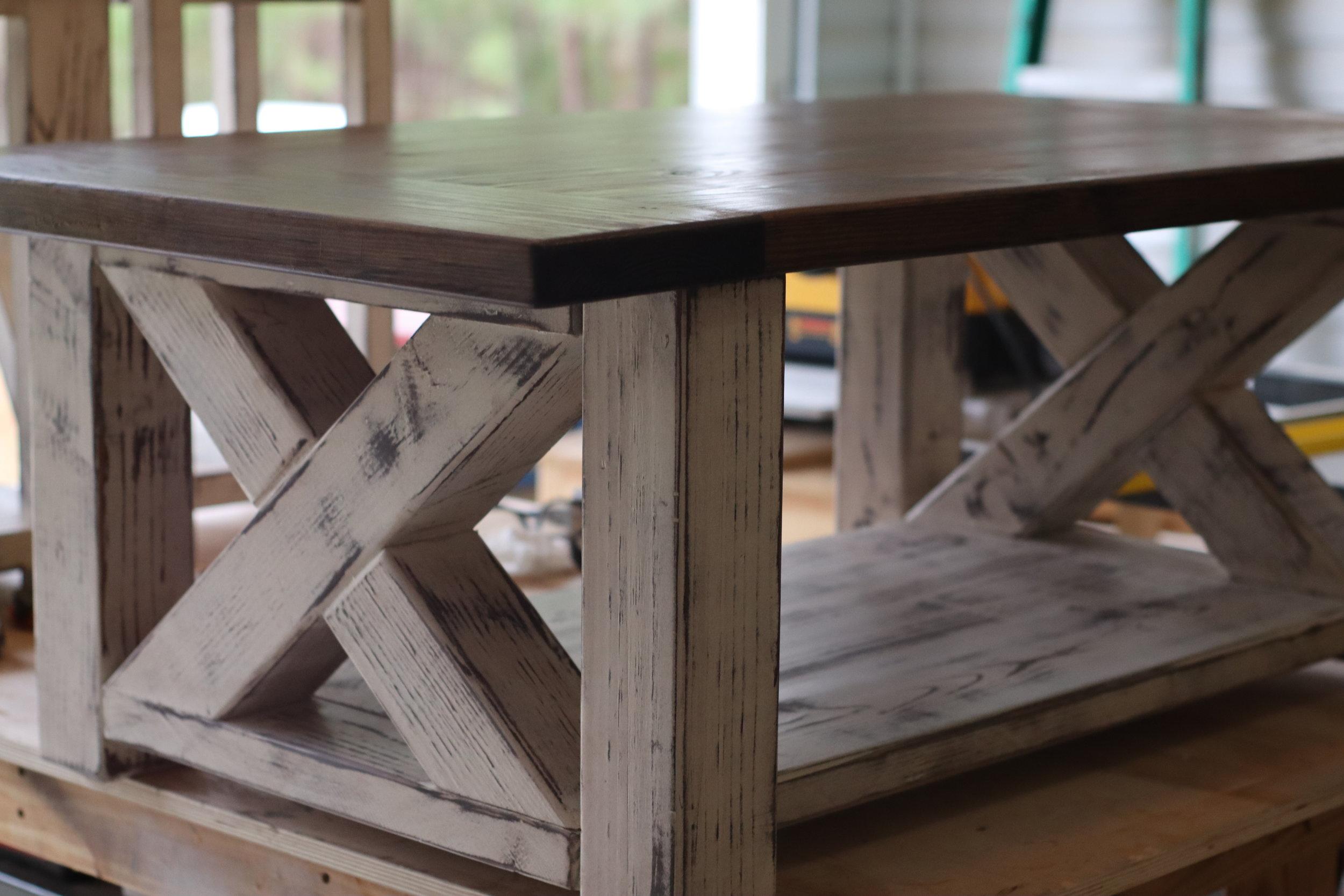 farmhouse coffee table with x base.JPG