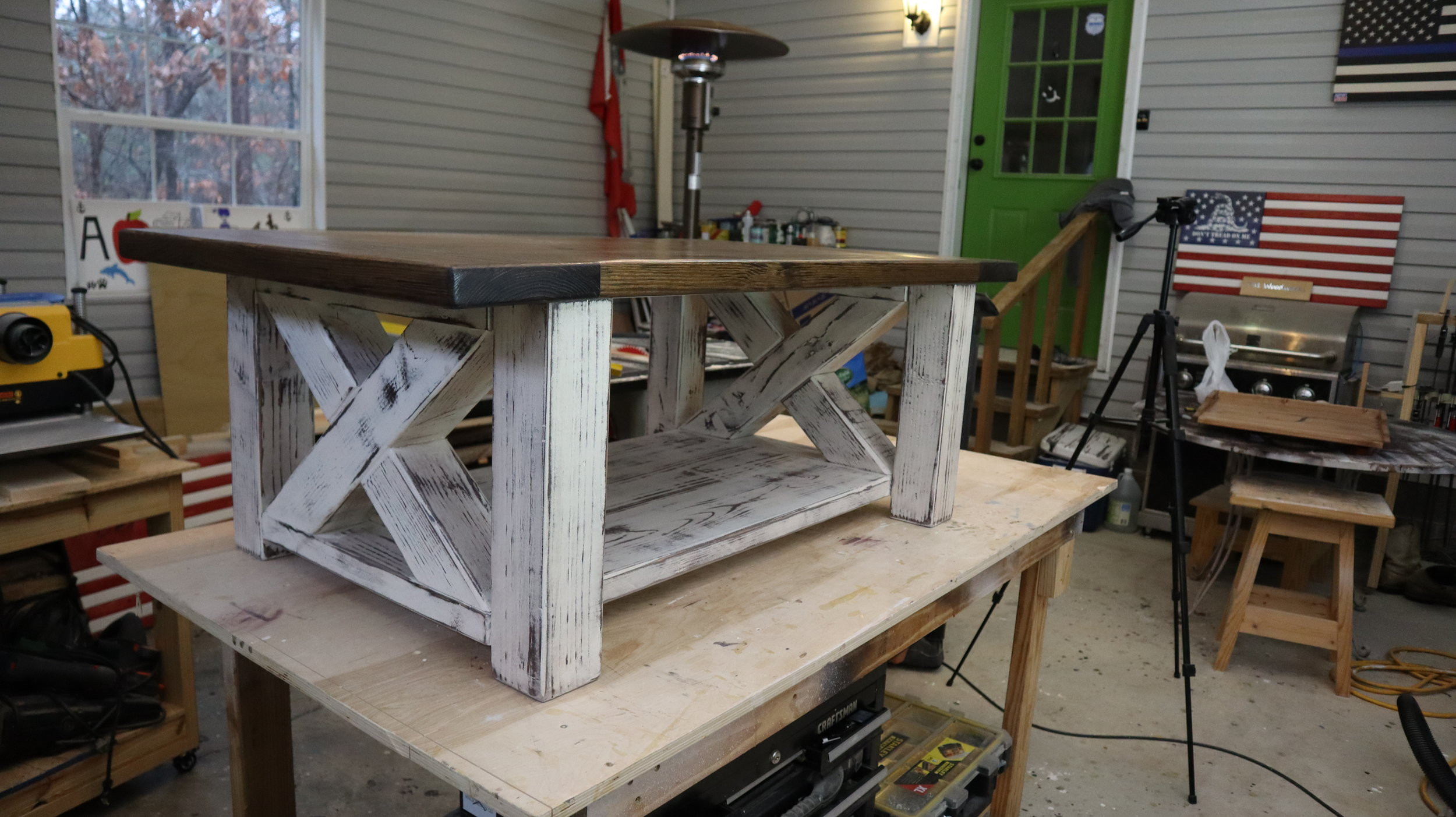 distressed farmhouse coffee table.JPG