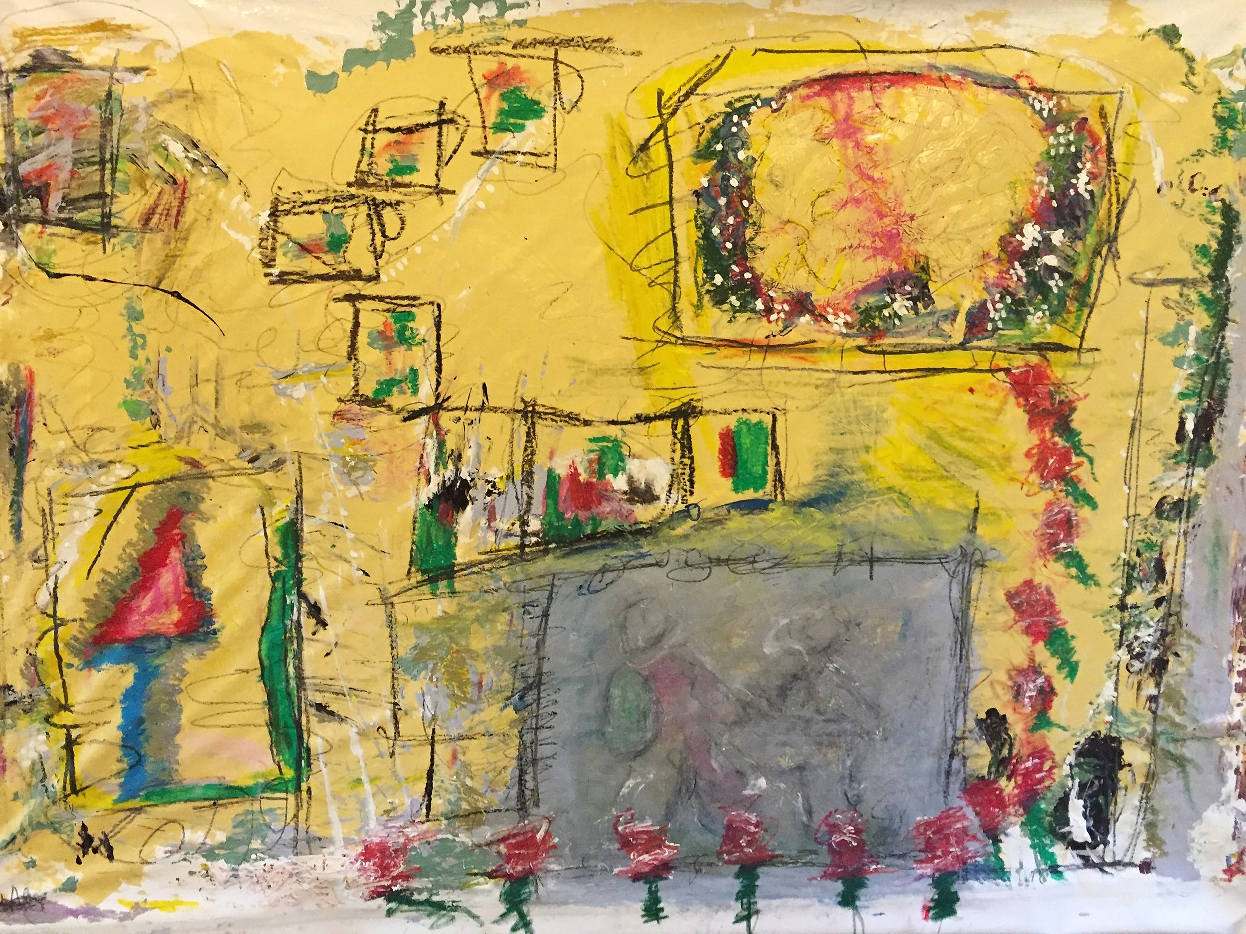 "Yellow with Grey Box   44"" x 60""      2013"