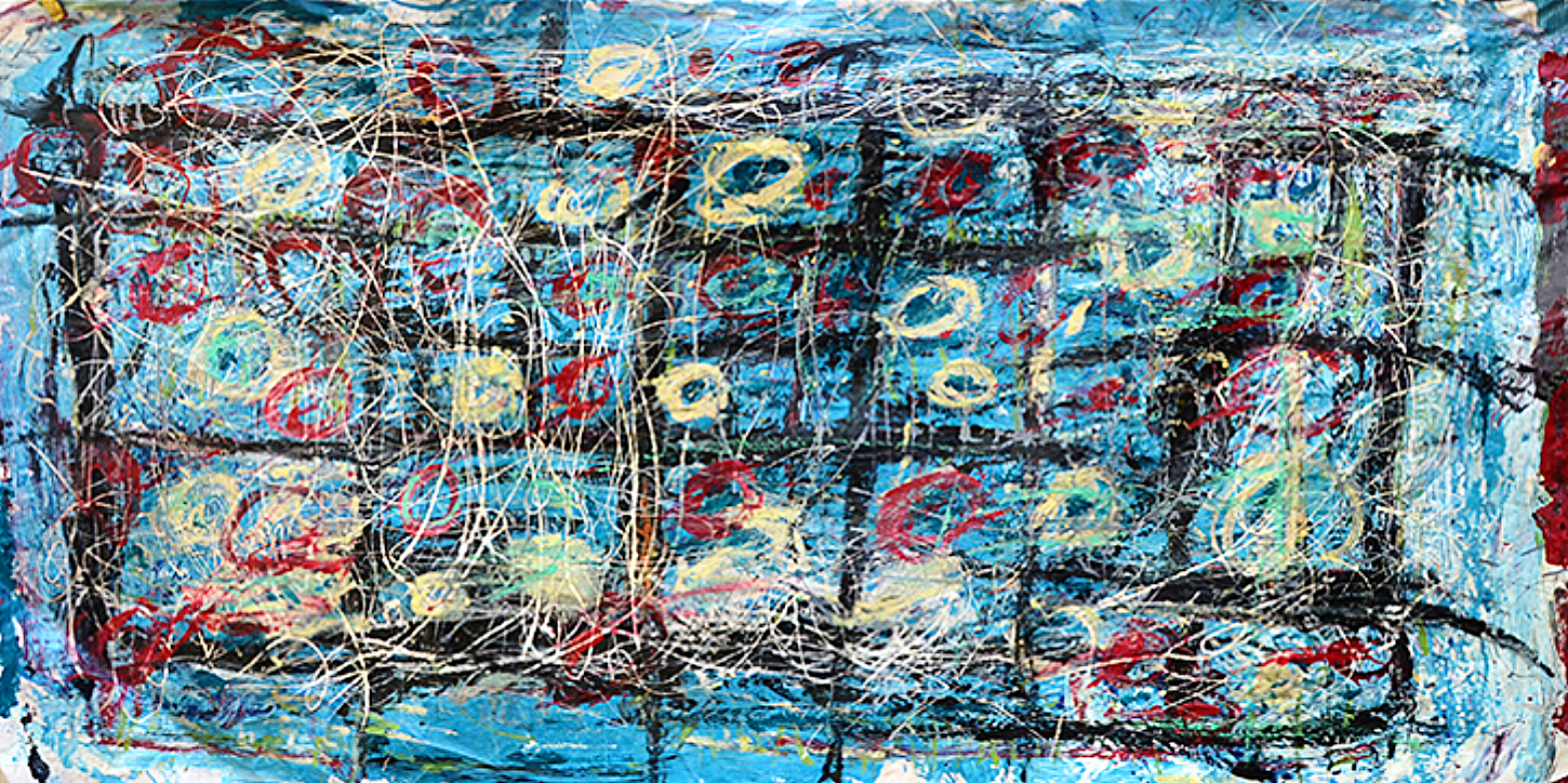 "Blue with Black   47"" x 98""      1990's"