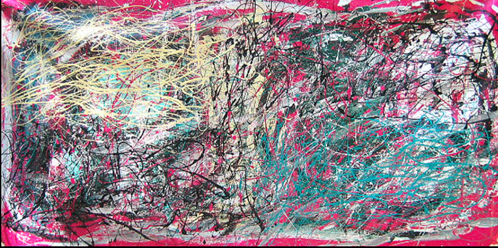 "Yellow Area on Pink   48"" x 80""      1990's"