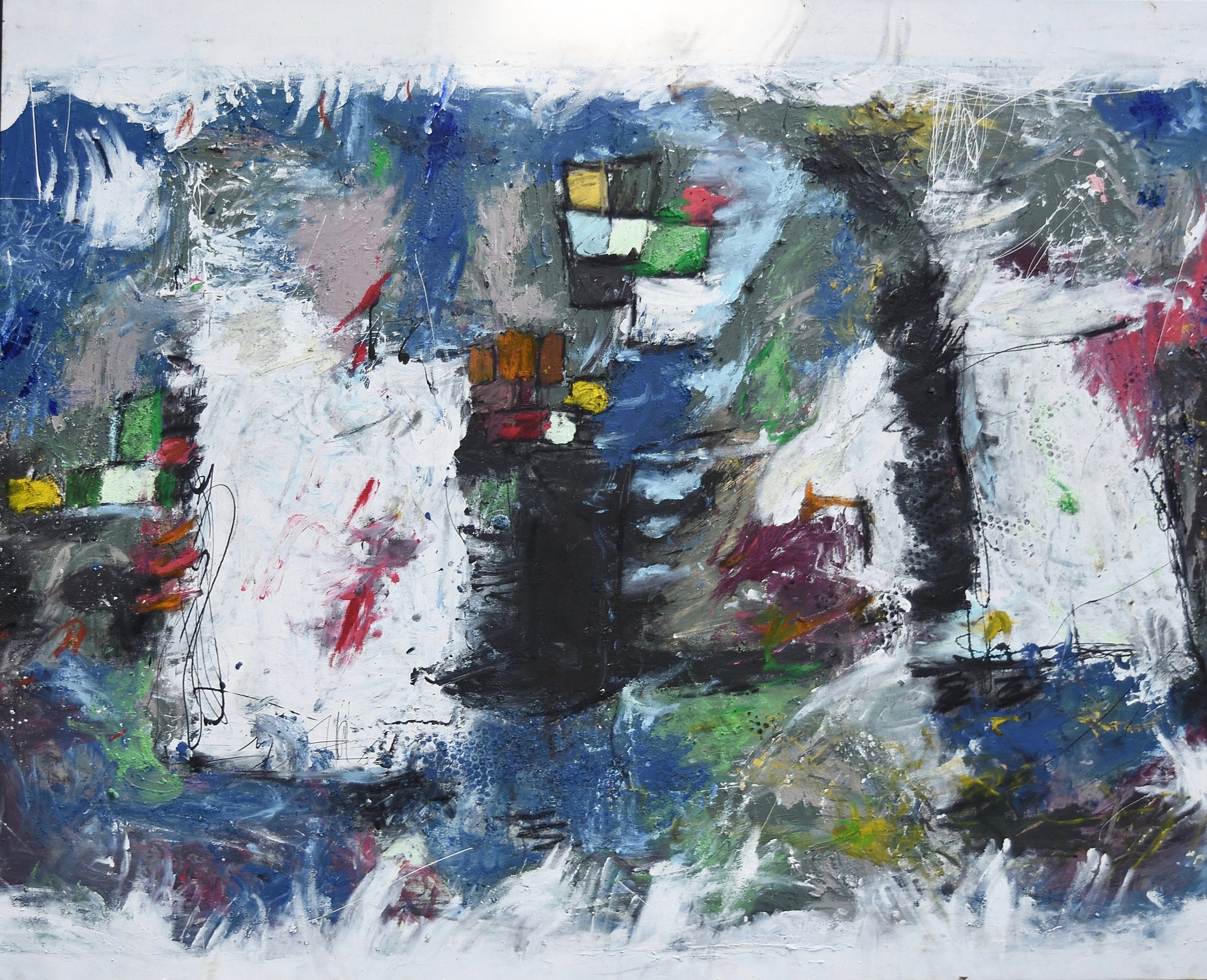 """White Over Squares 68"""" x 55"""""""